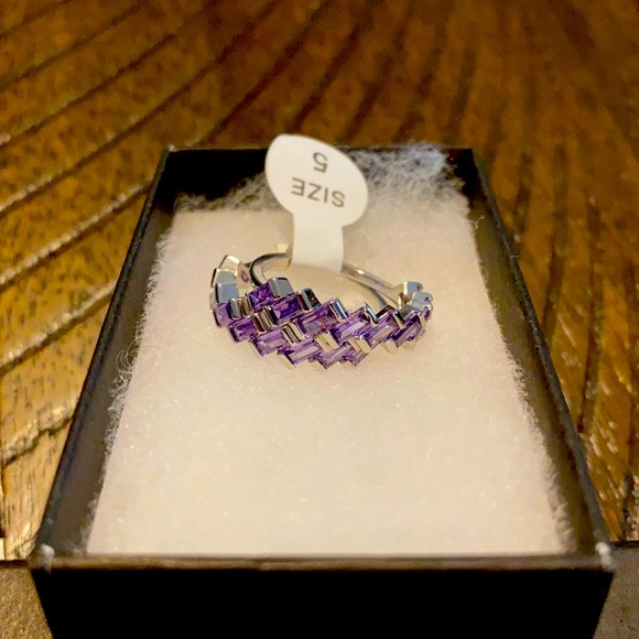 Modern Elegance Amethyst Ring Size 5 Double Band